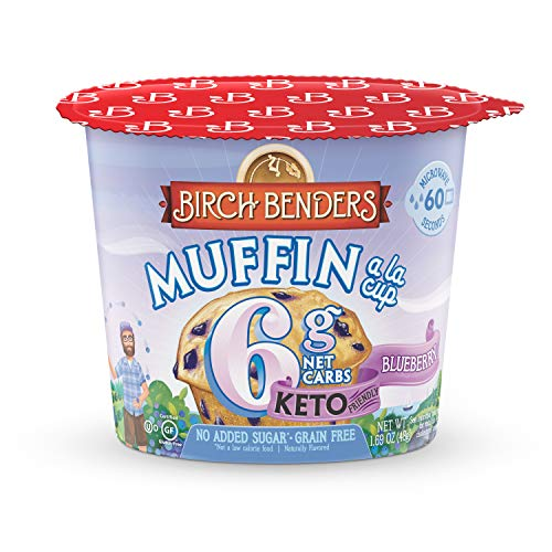 Blueberry Muffin Cups by Birch Benders, Grain-Free, Gluten-Free, Keto friendly, only 6 Net Carbs, Just Add Water (8 Single Serve Cups)