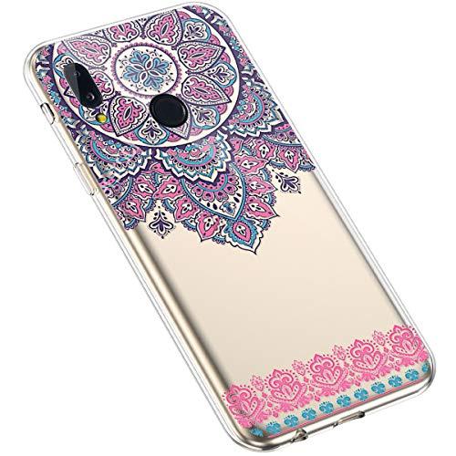 Uposao Kompatibel mit Huawei P20 Lite Hülle Silikon Transparent Durchsichtig Handyhülle Mandala Henna Blumen Traumfänger Muster Motiv Crystal Clear Case Schutzhülle Dünn Slim Tasche,#13