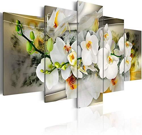 """Thznmg Leinwand Zum Bemalen Wandbilder 200X100 cm/ 78.8""""X 39.4""""Weiße Blume Leinwand Wandkunst Modernes Dekor 5 Panel Print Gemälde Floral Hd Bild Schlafzimmer Wohnzimmer Büro Modern Mauer Poster Foto"""