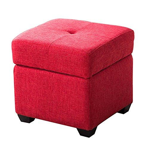 LJHA ertongcanyi Tabouret coloré en bois solide / tabouret de chaussure de Foyer / tabouret de stockage de chambre à coucher (6 couleurs facultatives) ( Couleur : Red , taille : 40*40cm )