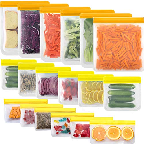 TWBB Reusable Food Storage Bags - 18 Pack BPA FREE Flat Freezer Bags include 6 Reusable Gallon Bags + 6 Leakproof Reusable Sandwich Bags + 6 Food Grade Kids Snack Bags,Resealable Lunch Bag for Meat Fruit Veggies