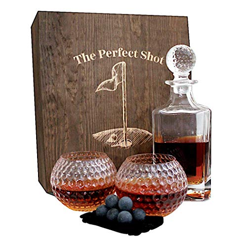 Golf Ball Whiskey Glass and Decanter Set by The Perfect Shot Whiskey Co. | Dad Golf Gift Decanter Gift Set | Decanter, 2 Golf Ball Whiskey Glass, 8 Whiskey Stones and Gift Box
