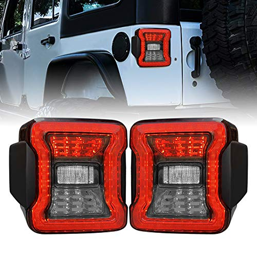 American Modified LED Tail Lights, JL Look Tailights w/Running Light, Brake Turn Signal Lamp and Reverse Lamps Function for 2007-2018 Jeep Wrangler JK/JKU, Pair (Smoked Lens)