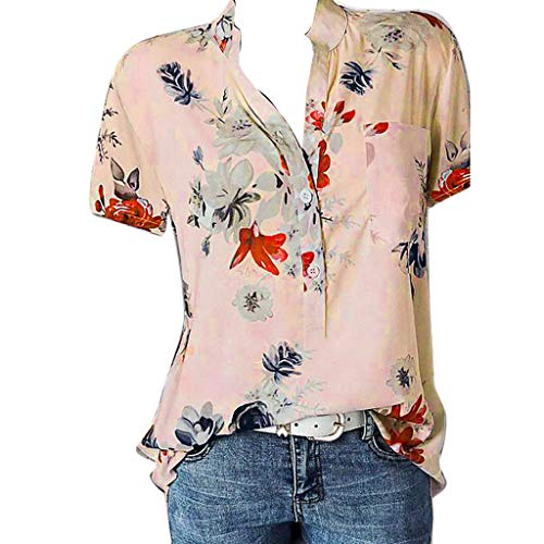 Meikosks Womens Plus Size Short Sleeve Blouses Floral Printing Pocket Tops Easy T Shirt Pink
