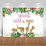 Mocsicka Young Wild and Three Backdrop Jungle Safari Animals Girl's Third Birthday Photo Backdrops 3rd Bday Party Photography Background (6x4ft)