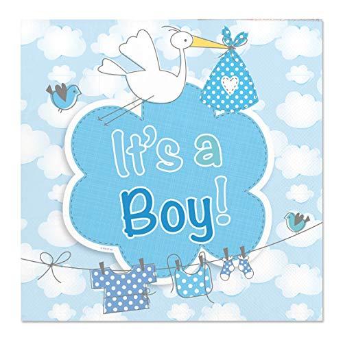 Folat 63631 - Servietten It`s a Boy - Geburt Junge - blau - ca. 25 x 25 cm - 2-lagig - 20 STK.