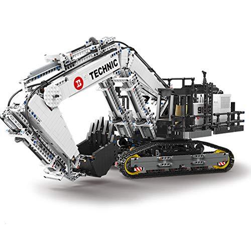 Oeasy Technik Bagger Ferngesteuert, 4342 Klemmbausteine Doppelte Fernbedienung Technic Raupenbagger mit 8 Motoren Bausteine Bauset Kompatibel mit Lego Technic