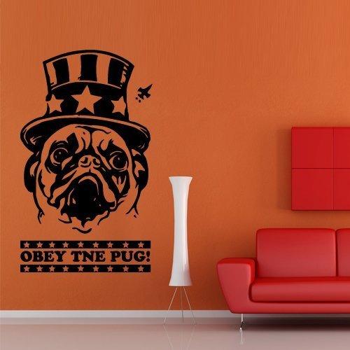 Wand Aufkleber Decor Aufkleber Art Dog Obey Mops Bulldogge Circus Tier Poster Hat Inschrift Zitat Buchstaben (M629) von decorwalldecals