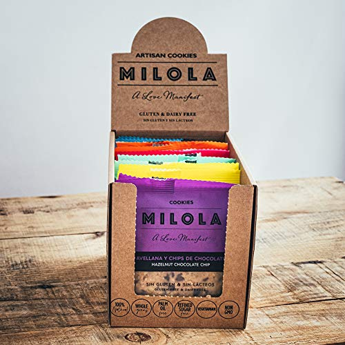 MILOLA Galletas Gluten Free. Pack 12 unidades - Sin Gluten, Sin Lácteos, Sin Gluten, Sin Aceite de Palma (I WANT IT ALL!)