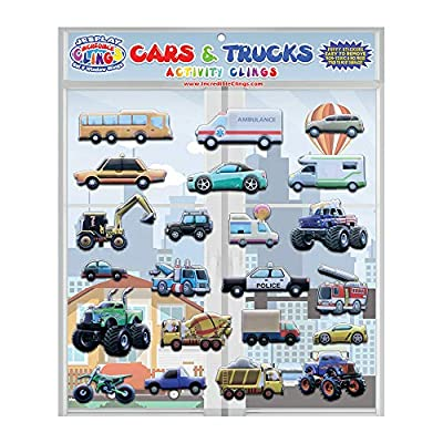 JesPlay Cars & Trucks Foam Window Clings for Kids (by Incredible Gel and Window Clings)- Reusable and Removable Puffy Stickers -Police and Race Cars, Monster, Tow and Fire Trucks, and More