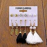 LPNJLALA Conjunto de Pendientes de círculo Grande con Giro de Perlas Vintage para Mujer, Pendientes de Cristal de Perlas de imitación geométricas de Moda, joyería