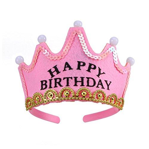 LUOEM LED-Licht-Geburtstagsfeier-Hüte Prinzessin Crown Birthday Girl Party Hats - Pink