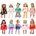 ZQDOLL 19 pcs Girl Doll Clothes Gift for American 18 inch Doll Clothes and Accessories, Including 10 Complete Sets of Clothing from ZQDOLL