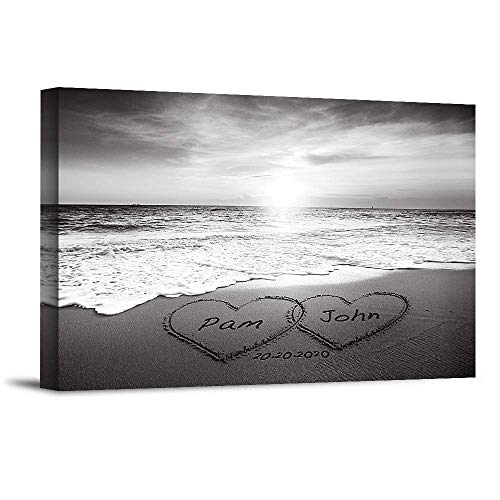 Heart and Heart at Beautiful Sunrise Black and White Unique Personalized Photo or Canvas Prints with Couple's Names and Special Date on Beach,Perfect Present Love Gift for Anniversary,Wedding