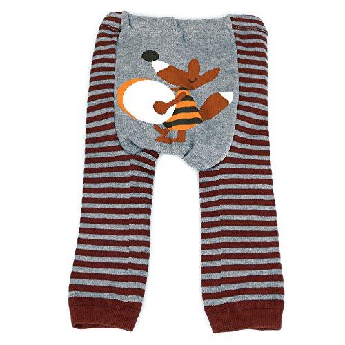 Dotty Fish Baby und Kleinkind Strickleggings. Leggings für Jungen und Mädchen. Graue und braune Streifen mit Fox. Mittel (12-24 Monate)