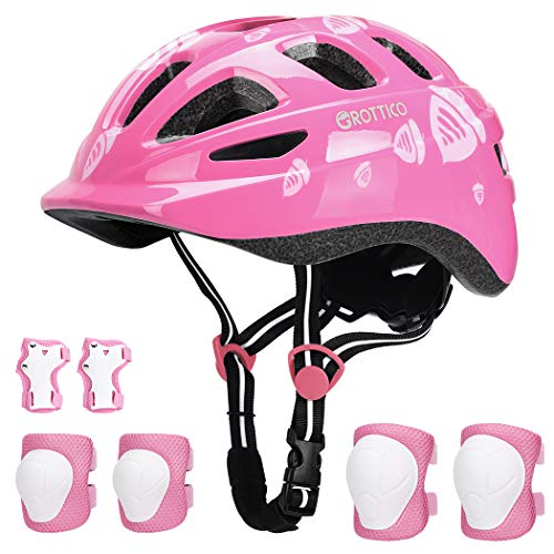 Toddler-Kids Ultralight Helmet with Knee-Elbow-Wrist-Pads - Acorn Pattern Adjustable for 2-10 Years Boys Girls Bike Skate Scooter, CPSC Safety Certificate