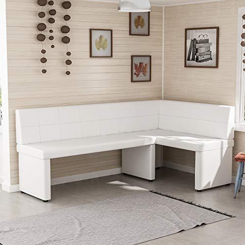Reboz Eckbank Küchenbank 128 x 168 cm aus Kunstleder Sitzecke (Weiß, 168x128cm rechts)