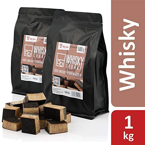 BBQ-Toro Whisky Chunks (1 kg) Räucherchunks   rauchintensive Holzchunks aus Eichenfässern   Räucherklötze für Gasgrill, Smoker, BBQ