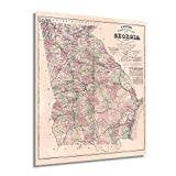 Historix Vintage 1864 Map of Georgia Poster - 20x24 Inch Vintage Map of Georgia Wall Art - Vintage Georgia Map Showing Counties, Railways, Stations, Villages, Mills - Georgia State Wall Map (2 sizes)