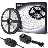 Lepro LEDテープライト ストリップライト 昼光色 6000k 無段階調光 ledテープ 5m 薄型 切断可能 取付簡単 SMD2835 300LED高輝度 正面発光 間接照明 非防水 室内・店内装飾 ledライト