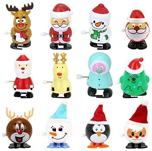 ZWX 12 Pack Christmas Wind Up Toys Assortment for Christmas Party Favors Goody Bag Filler