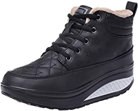 Fheaven Work Boots for Women, Winter Wedge Round Toe Waterproof Working Shoes Platform Sneakers with Fur Lined
