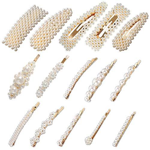 Paquet de 15 pinces à cheveux en perles, YuCool, grandes fesses artificielles antidérapantes, épingles à cheveux, barrette, accessoires de décoration, accessoires pour femmes,vacances scolaires