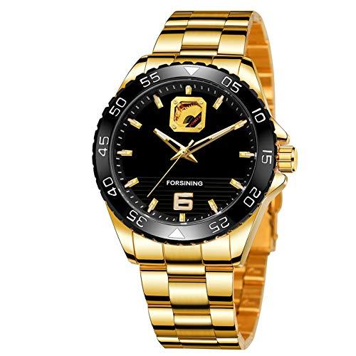 Flytise Hombres Automático Mecánico Preciso Tiempo Transparente Puntero Resplandeciente 30M Impermeable Relojes de Moda Masculina Pulsera Masculina para Negocios V Diaria Mem's Gifts (Caja