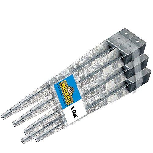 WICKEY Bodenhülse Einschlaghülse Pfostenhülse Einschlagbodenhülse für Pfosten 9x9cm, 10er Set