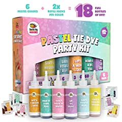 GET THE TIE DYE PARTY STARTED - This tie dye kit includes 6 custom pastel fabric dyes (DON'T MAKE ME BLUSH, LIFE'S A DREAM SICLE, SOFT & MELLOW YELLOW, KIND OF A BIG TEAL, BABY BELUGA BLUE, LIT AS LILAC) in easy-squeeze bottles. KEEP THE PARTY GOING ...