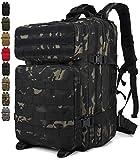 Doshwin Taktischer Rucksack Survival Tactical Militärrucksack Tarnrucksack US Army Molle Assault Pack für Herren Damen / 40L (Schwarzer CP)
