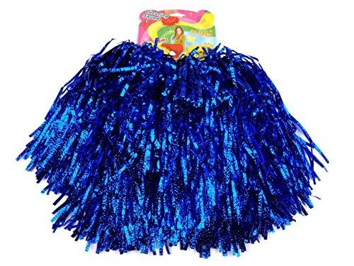 Schnoschi 2 Stück Pompons Cheerleading Cheerleader Tanzwedel Puschel 1 Paar viele Farben (Blau)