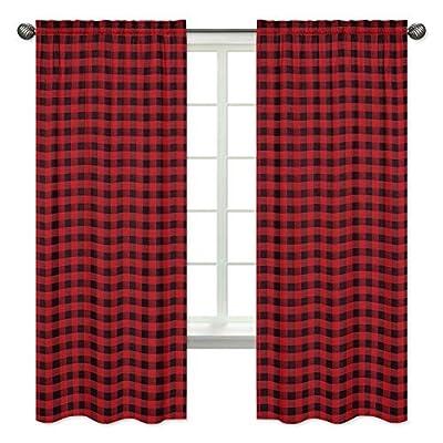 Sweet Jojo Designs Woodland Buffalo Plaid Window Treatment Panels Curtains - Set of 2 - Red and Black Rustic Country Lumberjack