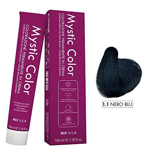 Mystic Color - Colore Nero Blu 1.1 - Tinta per Capelli - Colorazione Professionale in Crema a Lunga Durata - Con Cheratina Idrolizzata, Olio di Argan e Calendula - 100 ml
