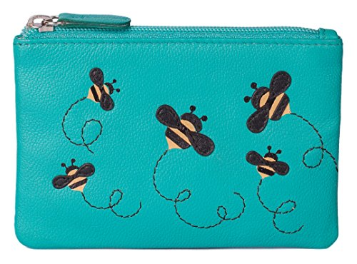 Bumble Bee Coin Purse by Mala Leather with Gift dustbag Soft Leather, Mischa Collection (Turquoise)