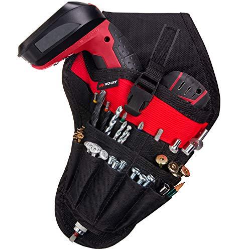NoCry Fondina per trapano, facile da usare, ben bilanciata, per trapano senza fili, con tasche per accessori e ganci aperti per attrezzi, si attacca alla cintura