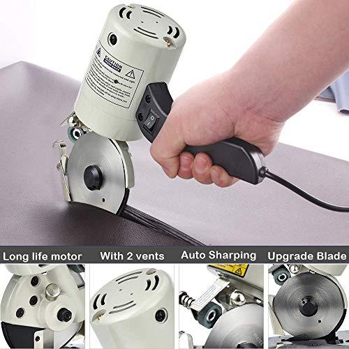 TOPQSC Elektrische stofsnijder, 90 mm, roterende lemmet, achthoekig mes, elektrische snijder, 250 W, stofsnijder, elektrische schaar voor stof voor quilten, snijden en naaien