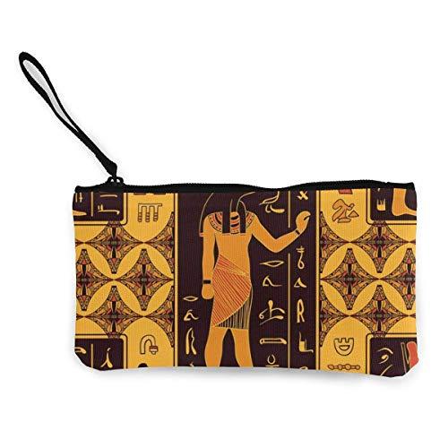 Lawenp Ägyptische Götter und altägyptische Hieroglyphen Persönlichkeit Niedliche Frauen Männer Mehrzweck Leinwand Reißverschluss Tasche Leinwand Kleine Schminktaschen Wechsel Lippenstift Karte Leinwa