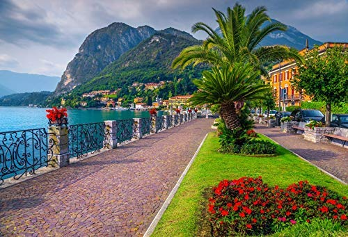 Baocicco 10x8ft Italy Backdrop Colorful Flowers Spectacular Walkway Lake Como Italy Mountain and Water Views Photography Background Wedding Italy Party Decoration Adults Portrait Prop