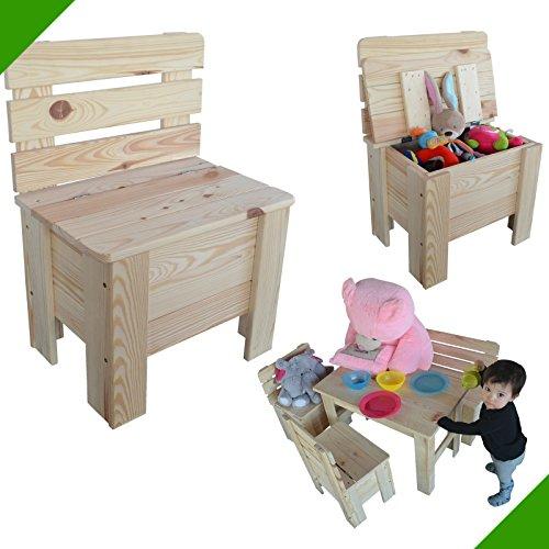 Kinderstuhl Holzstuhl Gartenstuhl Truhe Kiefer Massiv Stuhl aus Holz Spielzeugkiste Unbehandelt Kindermöbel Allzweckkiste Holztruhe Sitztruhe Holzmöbel Spielzeugtruhe