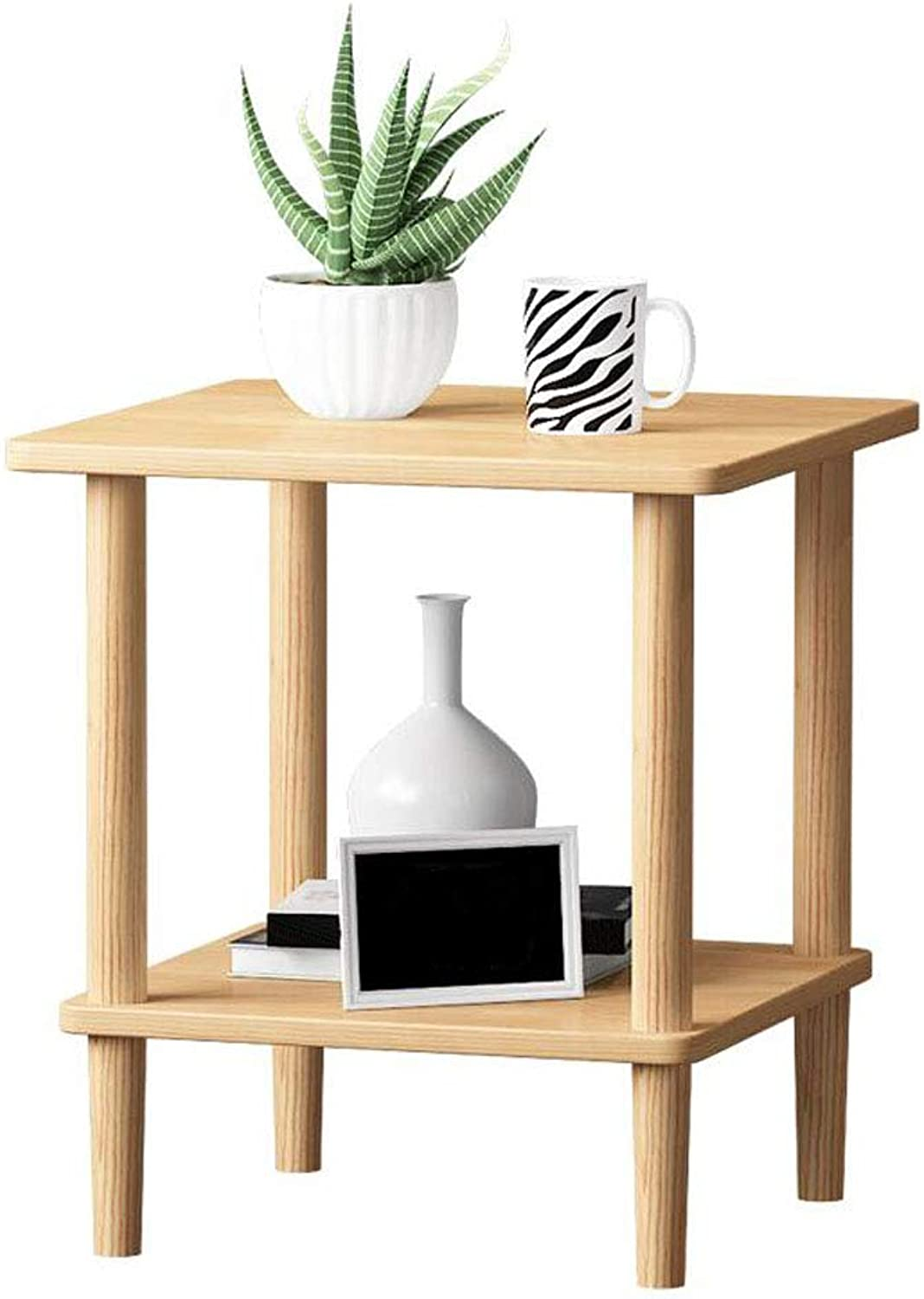 Solid Wood Bedside Table Simple Modern Coffee Table Small Apartment Living Room Storage Cabinet Side Cabinet (color   Wood color, Size   40  40  53cm)