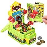 Godmorn Spiel, Schlag den Maulwurf, Mini elektronische Arcade-Spiel Spielzeug, Münzspiel mit 2 Hämmern, Interaktives Spiel Hammerspiel Spielzeug für Jungen und Mädchen Alter 3-6