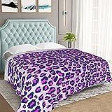 Leopard Print Fuzzy Blanket Purple Cheetah Print Sherpa Blanket Wild Animal Theme Fleece Throw Blanket for Sofa Bed Couch Bedroom Decor Stripe Plush Blanket Single 50'X60'