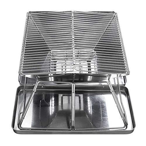 51ahCJygKJL. SL500  - YWZQ Folding Edelstahl BBQ Grill, tragbare Camping Grills im Freien Holzkohlegrill Grillrost Grillzubehör, für Küchenhelfer