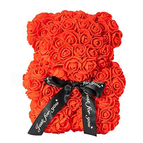 Tanness Oso de Peluche Artificial, Rosa preservada para Siempre, Flor