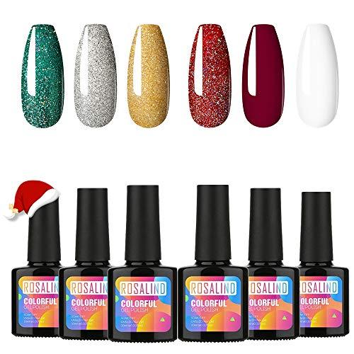 ROSALIND Smalto Semipermente per Unghie in Gel Glitter,Soak Off UV Gel Unghie Smalti per Unghie,Gel Semipermanente Unghie 6 Colori 10ml Regalo di Natale