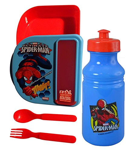 Zak Designs Marvel Spider-Man Boy's Resuable Lunch Container Gopak With Compartment For Fork & Spoon! Plus Bonus Spiderman 16oz Pull Top Water Bottle!