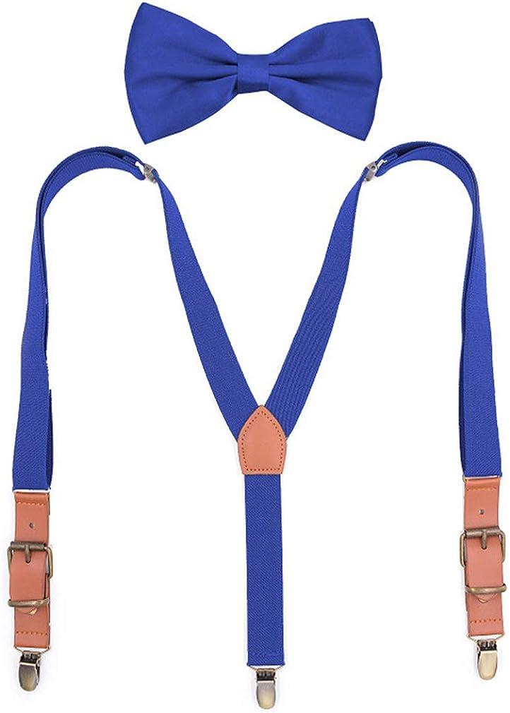 AYOSUSH Vintage Suspenders for Men with Bow Tie Adjustable Elastic Y Back 3 Clip