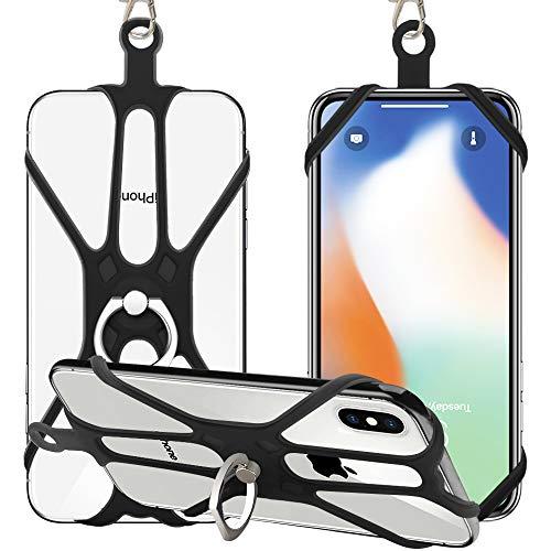 SHANSHUI Handy Lanyard, Silikon Umhängeband Halsband Trageband mit Finger Ring Ständer Fingerhalter für Universale Smartphones kompatibel mit meisten Smartphone Schwarz