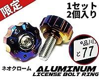 【COTRAX】ミニギアタイプナンバーボルト 軽量 アルミ 製 ナンバープレート ボルト ワッシャー + ステンレス M6 ネジ バイク 自動車 汎用パーツ Miniギヤ 2個セット (ネオクローム(チタン焼色風))